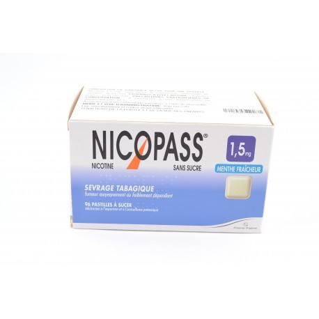 NICOPASS S SUC MENTHE FRAIC 1,5mg Past Plq/96