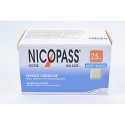 NICOPASS MENTHE FRAICHE SANS SUCRE 2,5mg Pastilles Plaquette de 96