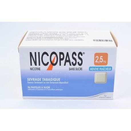 NICOPASS MENTH FRAICH S SUC 2,5mg Past Plq/96