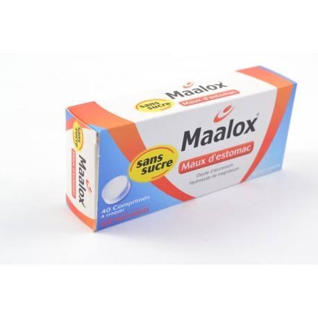 MAALOX MAUX D'ESTOMAC Comprimés à croquer sans sucre Fruits rouges Boite de 40