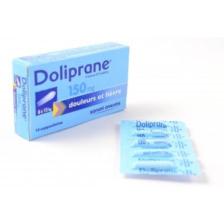 DOLIPRANE ( Paracetamol) 150 mg de 8 à 12 kg Boite de 10 suppositoires