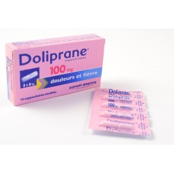 DOLIPRANE (Paracetamol) 100 mg Nourissons de 3 à 8 kg Boite de 10 suppositoires sécables