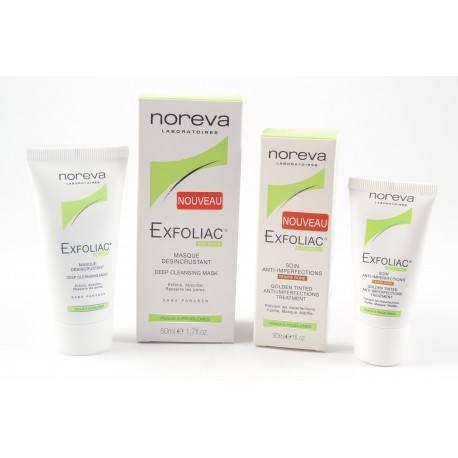 NOREVA EXFOLIAC Offre promotionnelle Soin anti-imperfections Teinté doré + masque désincrustant