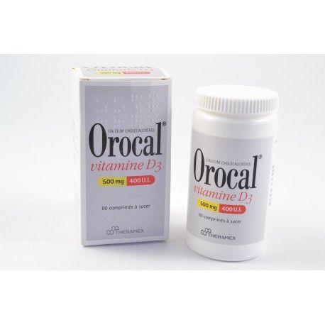 OROCAL Vitamine D3  500 mg / 400 U.I Boite de 60 comprimés à sucer
