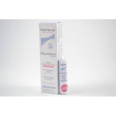 NOREVA AQUAREVA Crème hydratante 24 h Texture riche Tube de 40 ml + stick lèvres offert