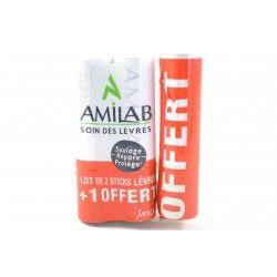 AMILAB Soin des lèvres Lot de 2 stick + 1 offert