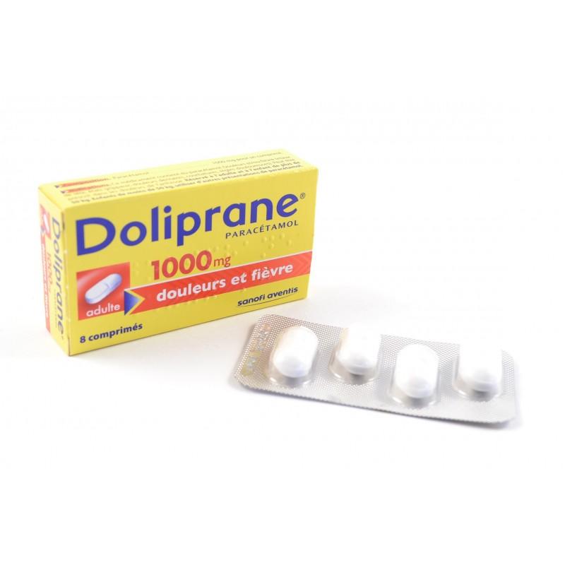 doliprane paracetamol adultes 1000 mg boite de 8 comprim s notrepharma. Black Bedroom Furniture Sets. Home Design Ideas