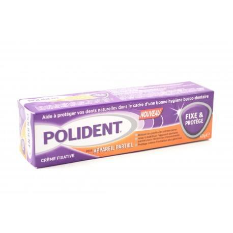 POLIDENT Crème fixative pour appareil partiel FIXE ET PROTEGE Tube de 40g
