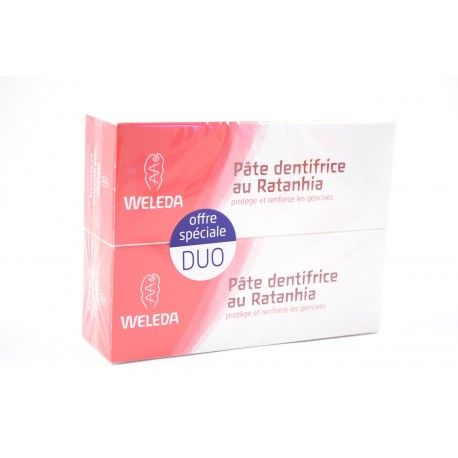 WELEDA Lot de 2 Pâtes dentifrice au Ratanhia 2 x 75 ml