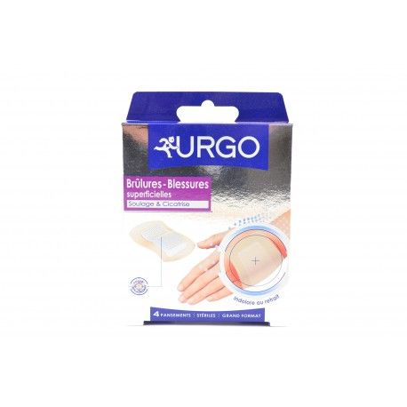 URGO Brûlures - Blessures superficielles Boite de 4 pansements