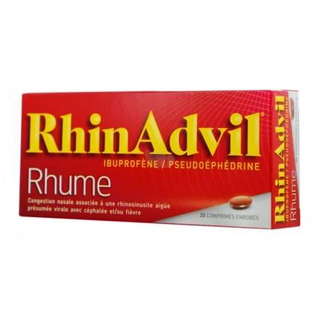 RHINADVIL RHUME Ibuprofène / pseudoéphédrine Boite de 20 comprimés enrobés