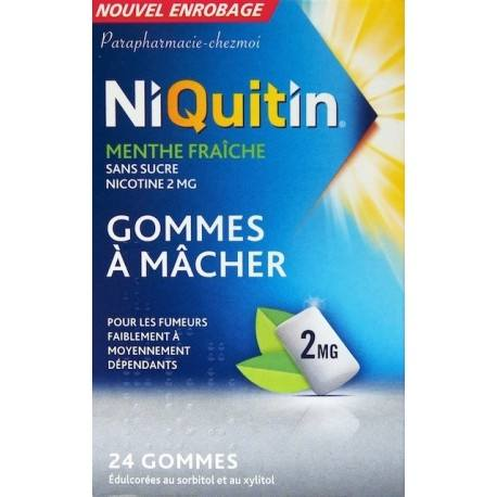 NIQUITIN Menthe fraiche 2 mg Boite de 24 gommes à macher