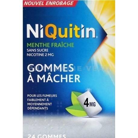 NIQUITIN Menthe Fraiche 4 mg Boite de 24 gommes à mâcher
