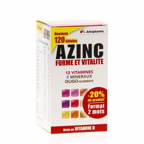 ARKOPHARMA AZINC Forme et vitalité Boite de 120 gélules Format 2 mois