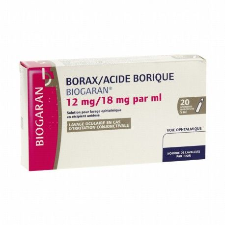 BORAX / Acide borique 12 mg / 18 mg / ml Boite de 20 unidoses de 5 ml