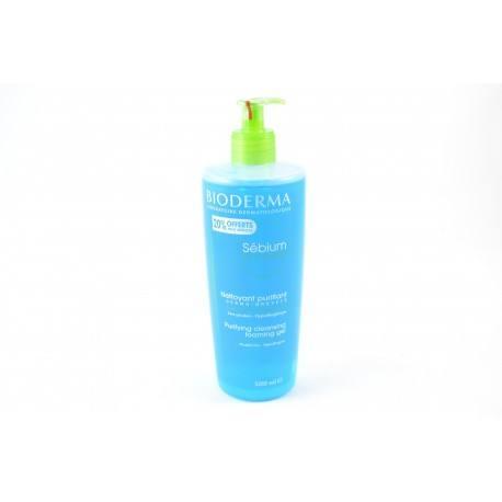 BIODERMA Sébium Gel moussant Nettoyant purifiant +20% OFFERT Flacon pompe de 500 ml