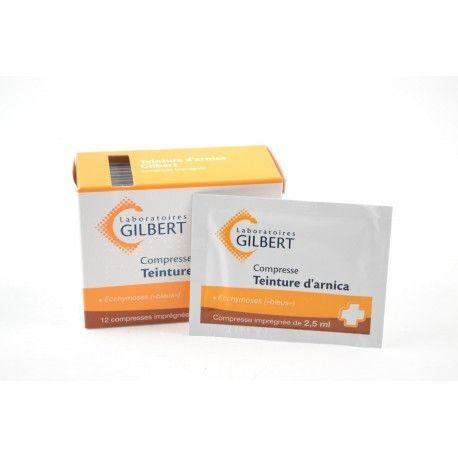 GILBERT Compresses Teinture d'arnica Boite de 12 compresses imprégnées de 2.5 ml