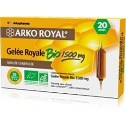 ARKO ROYAL Gelée royale Bio 1500 mg Goût orange - miel 20 ampoules de 15 ml