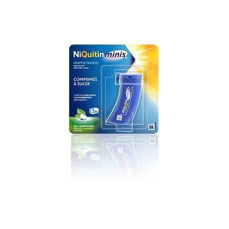 NIQUITIN Minis Nicotine 1.5 mg Comprimés à sucer Menthe fraîche Sans sucre 20 comprimés