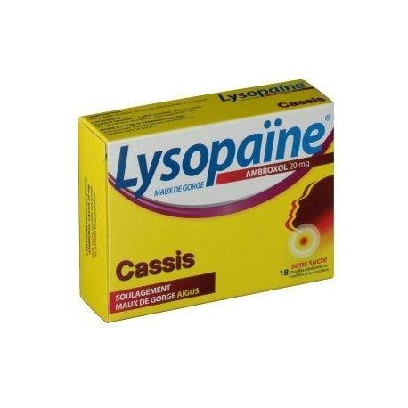 LYSOPAÏNE CASSIS SANS SUCRE 20mg boite de 1 pastilles