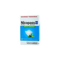 NICOPASS Sans Sucre 1,5 mg Menthe fraiche Boite de 12 pastilles