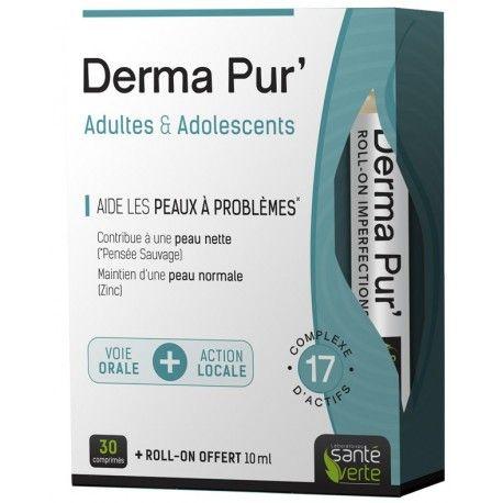 DERMA Pur' Boite de 30 comprimés + 1 roll'on 10 ml offert