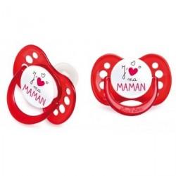 LUC ET LEA Sucette silicone 6 mois et + J'aime ma maman rouge