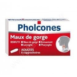 PHOLCONES Maux de gorges Boite de 8 suppositoires por adultes