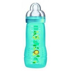 MAM Biberon 2ème âge Coloré - 330ml - à partir de 6 mois - Tétine Débit X - Turquoise