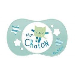 """LUC ET LEA Sucette silicone symétrique """"Mon chaton"""" 0 mois et +"""