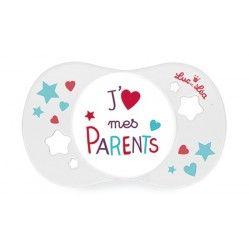 """LUC ET LEA Sucette silicone symétrique 18 mois e + """"J'aime mes parents"""""""