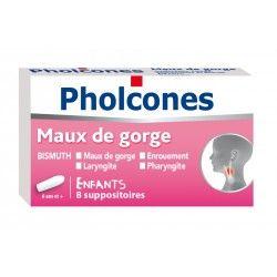PHOLCONES Enfants Maux de gorge Boite de 8 suppositoires