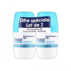 ETIAXIL Déodorant anti transpirant 48 h Peaux sensibles Lot de 2 billes de 50 ml