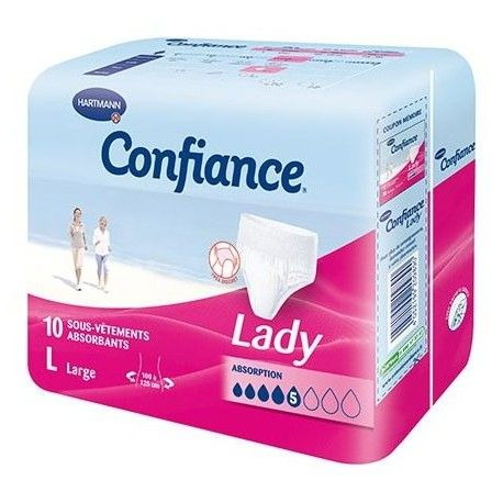 CONFIANCE LADY Boite de 10 sous vêtements LARGE 5 gouttes