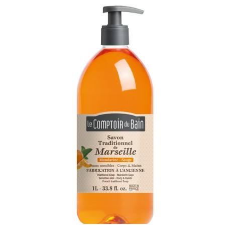 le comptoir du bain savon traditionnel de marseille mandarine sauge flacon de 1 l notrepharma. Black Bedroom Furniture Sets. Home Design Ideas