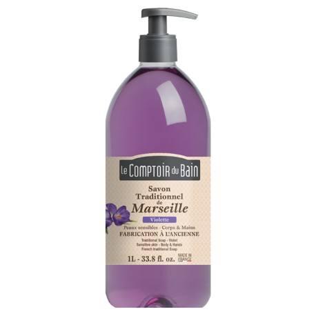 le comptoir du bain savon traditionnel de marseille violette flacon de 1 l notrepharma. Black Bedroom Furniture Sets. Home Design Ideas