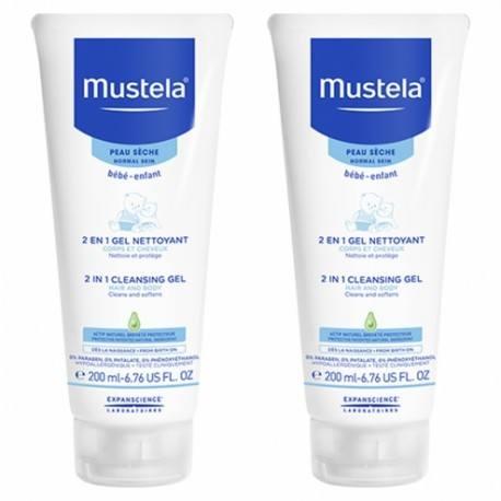 MUSTELA Gel nettoyant 2en1 Cheveux et Corps 2 Tubes de 200ml