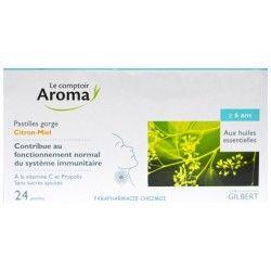 LE COMPTOIR AROMA Pastilles gorge Citron - Miel Boite de 24