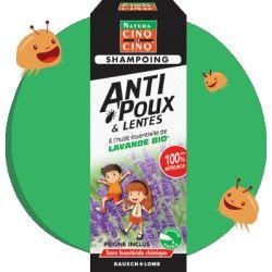 CINQ SUR CINQ Shampooing anti poux et lentes à lavande Bio Flacon de 100 ml + peinge