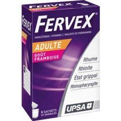 FERVEX Etat grippal Boite de 8 sachets goût Framboise pour adultes