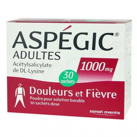 ASPEGIC Adultes 1000 mg Poudre pour solution buvable Boite de 30 sachets