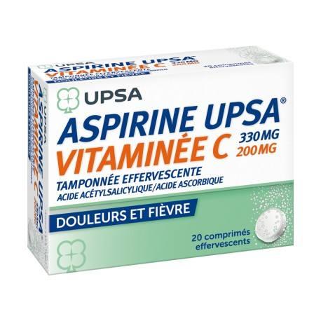 ASPIRINE UPSA VITAMINE C Comprimés effervescents 2 Tubes de 10