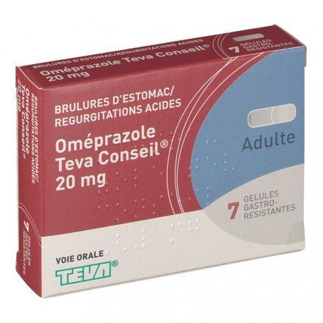 OMEPRAZOLE 20 mg Teva Conseil Boite de 7 gélules