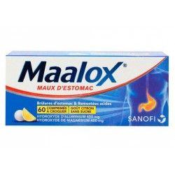 MAALOX MAUX D'ESTOMAC Comprimés à croquer gout Citron sans sucre Boite de 60
