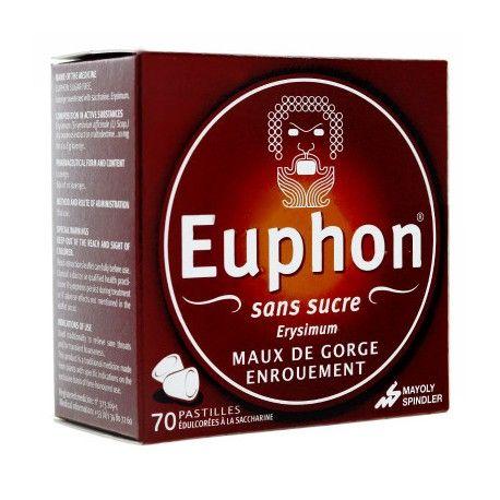 EUPHON Sans sucre Maux de Gorge, enrouement Boite de 70 pastilles