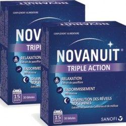 NOVANUIT Triple action Sommeil Complément alimentaire Lot de 2 Boites de 30 gélules
