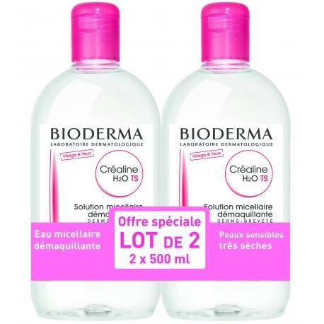 BIODERMA CREALINE TS H2O Solution Micellaire sans parfum nettoyante apaisante 2 Flacons de 500ml