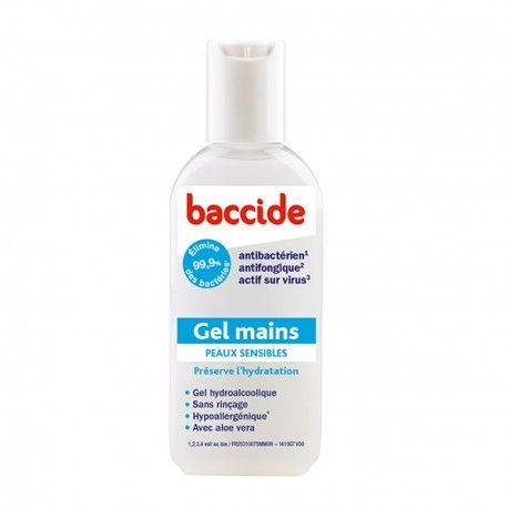 BACCIDE Gel hydroalcoolique pour les mains peaux sensibles flacon de 75 ml