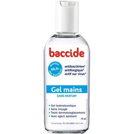 BACCIDE Gel hydroalcoolique pour les mains sans parfum flacon de 75 ml