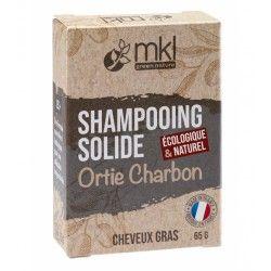 MKL Shampooing solide à l' ORTIE ET CHARBON pour cheveux gras Pain de 65 grammes